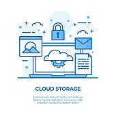 Cloud Storage Thin Line Illustration