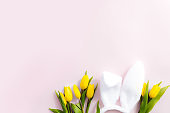 Easter concept. White fluffy rabbit ears, yellow tulips on a pink background