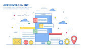 Mobile App Development Thin Line Illustration