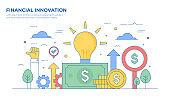 Financial Innovation Thin Line Illustration