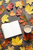Autumn mood flat lay. Cup of coffee, notebook, autumn leaves on dark wooden background. Autumn stylish mockup with blank notebook, top view, copy space.