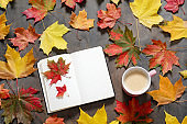 Autumn mood flat lay. Cup of coffee, notebook, autumn leaves on white background. Mockup, top view, copy space.
