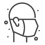 Face mask, square line vector icon.