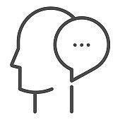 Communication, square line vector icon.