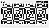 Abstract modern geometric banner with simple shapes in black and white colors, graphic composition design vector background, monochrome stripe pattern