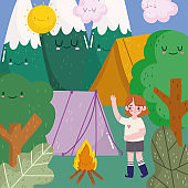 camping girl tent forest mountains and campfire in cartoon style