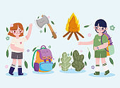 camping icons, girl boy backpack ax campfire forest in cartoon style