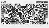 Abstract modern geometric banner with simple shapes in black and white colors, graphic composition design vector background, geometrical artwork with different figure and shape, postmodern contemporary art