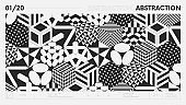Abstract modern geometric banner with simple shapes in black and white colors, graphic composition design vector background, 3d cubes with different patterns postmodern contemporary art