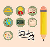 back to school education learn icons set pencil book paper map