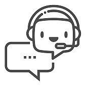 Virtual assistant, square line vector icon.