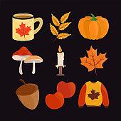 hello autumn icon set