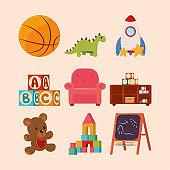 kids toys icon set