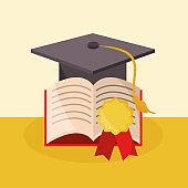back to school education graduation hat book medal