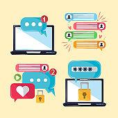 laptop messaging concept