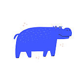 Cute blue hippo hand drawn vector illustration. Adorable tropical animal cartoon character. Funny hippopotamus, friendly behemoth isolated on white background. Childish t shirt print design