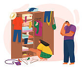 Life of Couple Choosing Clothes in Cupboard Vector