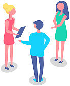 Office workers have conversation. Colleagues discuss at meeting. Characters communicate at work