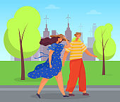 Couple in Windy Citys Park Man and Woman Traveling