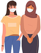 Female characters are wearing medical masks. Multinational girls on self-isolation during pandemic