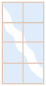 Modern narrow window with transparent glass in a thin frame. Vector element of the room interior