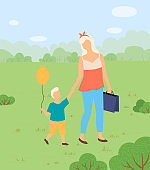 Woman and Son with Balloon in Park Walking, Nature