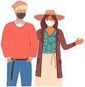 Boy and girl are wearing medical masks. Cartoon characters on the coronavirus self-isolation
