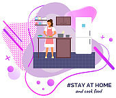 Stay at home and cook food, woman cutting salad, preparing spaghetti, leisure at self-isolation