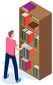 Student in library vector illustration. Guy pulls out book from bookshelf. Man chooses magazine