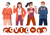 Group of young people in face medical masks at white background, covid-19 concept, flat style banner