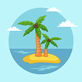 Palm trees with coconut on the sand tropical island, waterscape with blue sea and clear sky