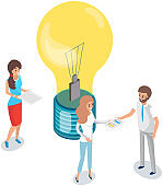 Colleagues are discussing new startup. Light bulb as symbol of idea for business development