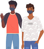 Indian male characters are wearing medical masks. Young guys on self-isolation during pandemic