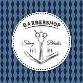 Logotype for barbershop vintage style. Barber shop logo emblem with barber object sign and lettering