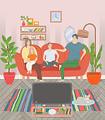 Family Watching Tv, Sweet Home, Leisure Vector