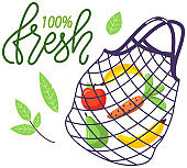 Eco-friendly reusable string bag with products. Zero waste collection. Bio concept, vegan food