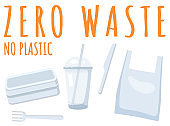 Elements for eco zero waste life. Go green. No plastic. Items collection on white background