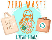 Fabric eco-friendly bag with products inside. Zero waste collection. Eco concept, no plastic