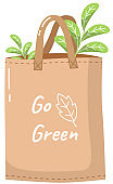Ecological bag with inscription. Eco-friendly container for carrying items vector illustration