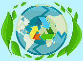 Earth with colorful recycling symbol. Caring for nature and preserving our planet concept