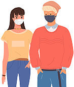 Young boy and girl are wearing medical masks. Teenagers on self-isolation during pandemic