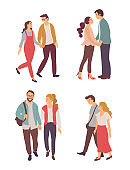 Lovers Walking Together, Couple Feelings Vector