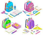 Supplies in School Bag, Notebook and Pen Vector