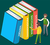 Men choose books in online library or bookstore, stand near stack of large multi-colored books