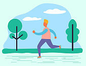 Jogger Exercising in Park Healthy Lifestyle of Man