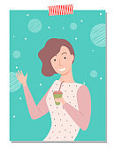 Woman Drinking Coffee from Plastic Cup Vector