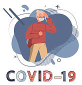 Blonde woman wearing face medical mask at background of abstract vector elements, concept of covid19