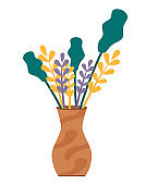Plants in Vase, Bouquet or Ikebana for Decoration