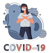 Isolated woman in medical mask at background with abstract vector elements, concept of covid-19