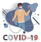 Black man wearing face medical mask at abstract vector elements background, spreading covid-19
